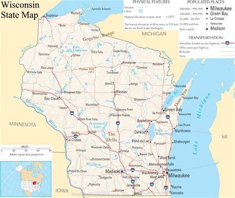 Search For In State Wisconsin State Map A Large Detailed Map Of Wisconsin State Usa
