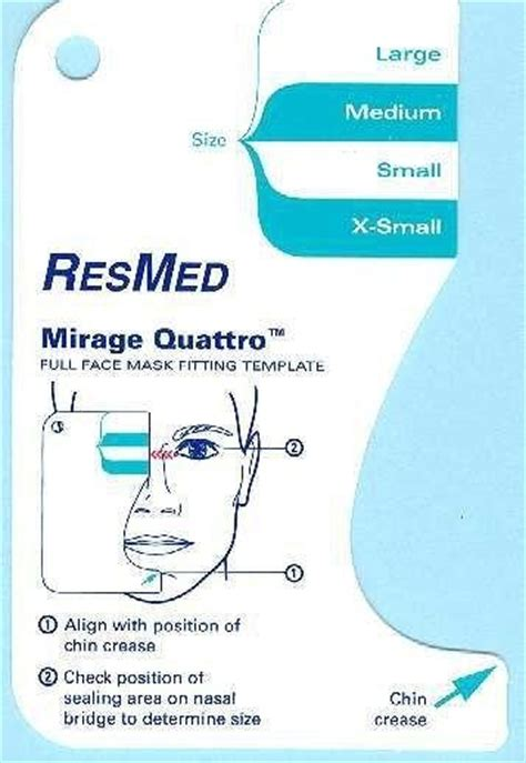 Cpap Mask Fitting Template Resmed Mirage Quattro Full Face Mask Fitting Template Cpapusa Com