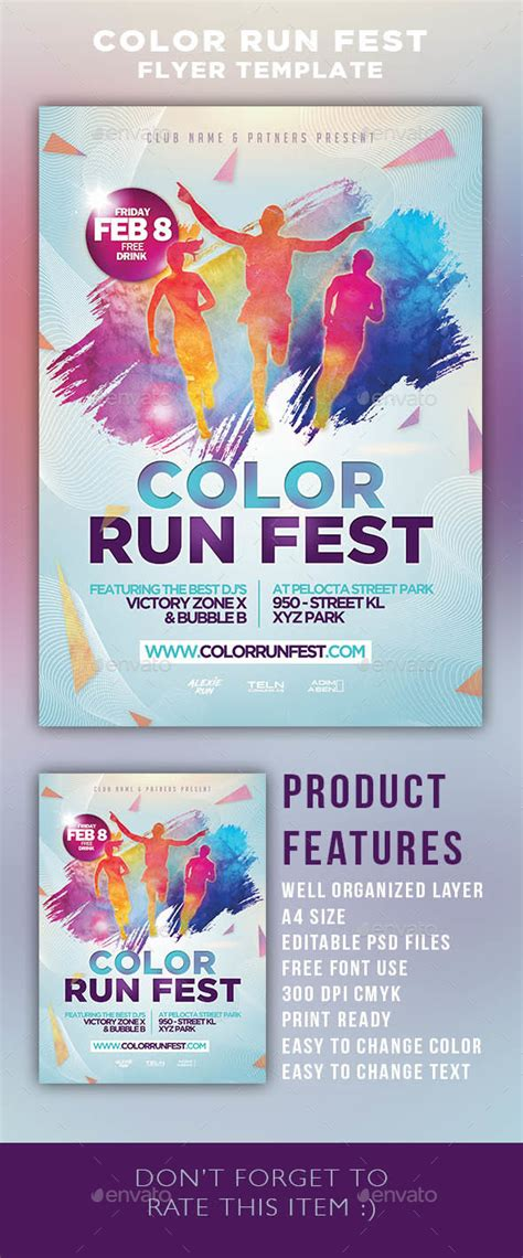 Color Run Festival Flyer Template By Adimasen Graphicriver Color Run Flyer Template