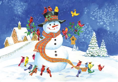 snowman  colorful birds christmas card  designer