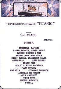 titanic third class menu the titanic the meals revelations the initial journey