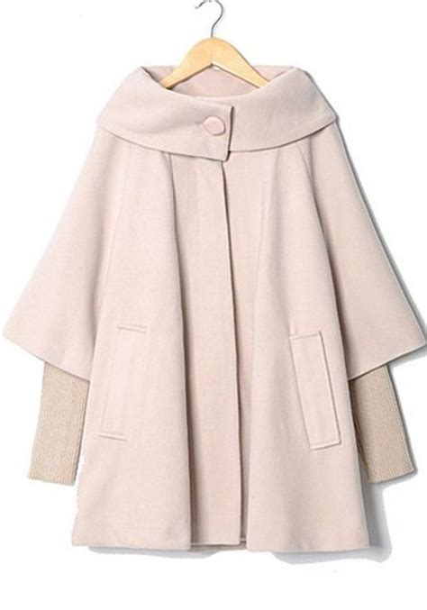 swing coat canada apricot patchwork pockets buttons asymmetric loose wool