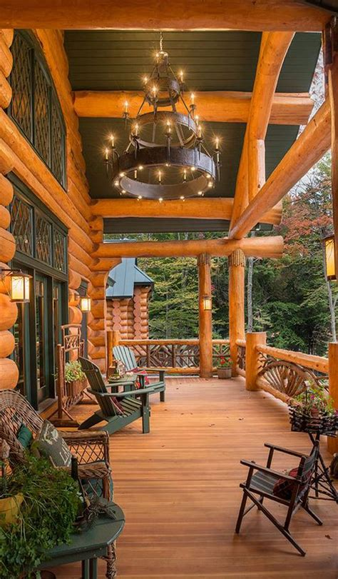 love this porch log cabin lodge pinterest what a stunning porch i love the chandelier what a
