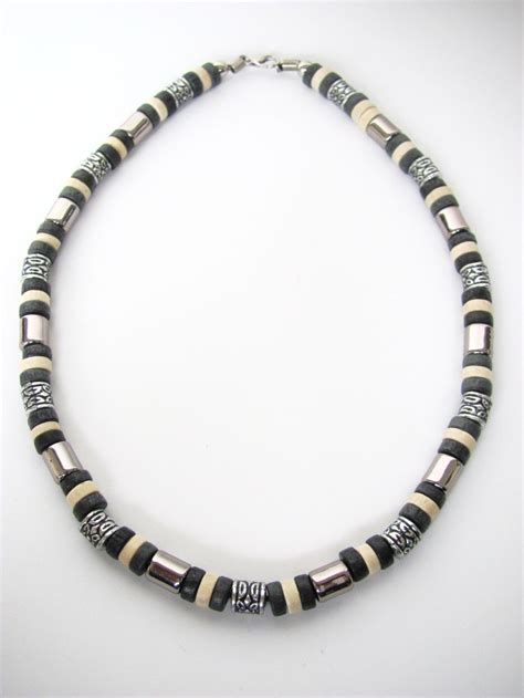 mens bead necklaces tri tone black surfer beaded necklace s jewelry