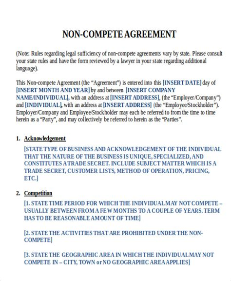 sample word  compete agreements