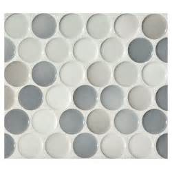 penny tiles: penny round mosaic graphite blend gloss complete tile collection