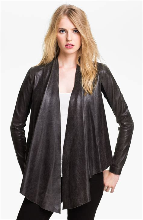 drape front jacket veda libra drape front leather jacket in gray charcoal
