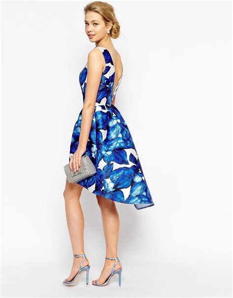 Blue Floral Dress 30165 lyst chi chi high low prom dress in large blue floral in blue