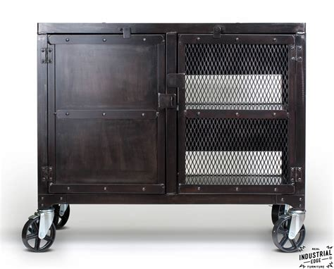 Industrial Bar Cabinet Industrial Rolling Kitchen Cart Wine Cabinet Real Industrial Edge Furniture Custom