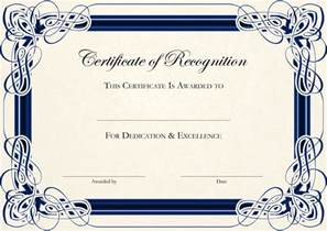 Certificate Of Recognition Template Free by Certificate Of Recognition Templates Genie