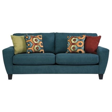 Ashley Sagen Fabric Queen Size Sleeper Sofa In Teal 9390239