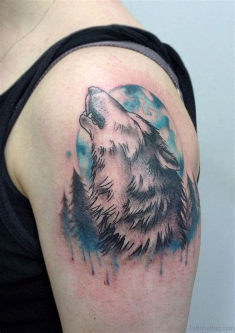 wolf moon tattoo 51 wolf tattoos on shoulder