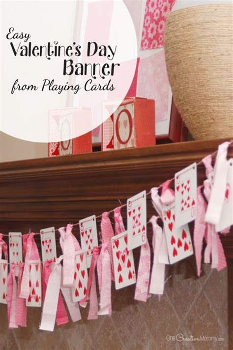 Playing Cardlentines Day Banner Onecreativemom M
