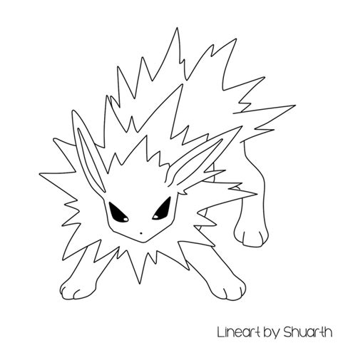 pokemon coloring pages jolteon pokemon jolteon lineart by shuarth on deviantart