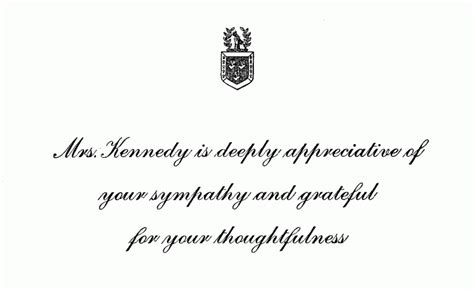Response Letter Sympathy Condolence Response Card Sent By Mrs Kennedy Following The Of President Kennedy F