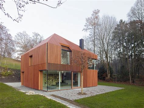 house clad in wood lamella modern house designs