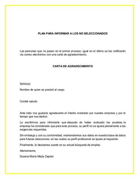 carta rechazo candidatos no seleccionados manual de preseleccion y seleccion de personal