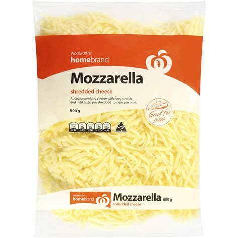 Mozarella Cheese 1 homebrand shredded mozzarella cheese 600g woolworths