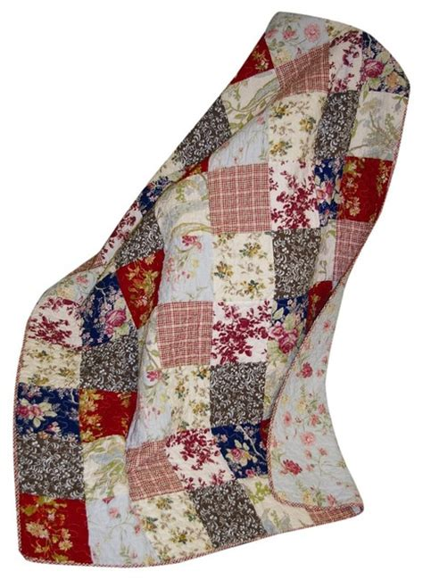 Patchwork Quilted Throw - greenland home amelia quilted patchwork throw