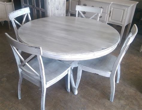 white and grey kitchen table here is a 54 quot round table and four chairs i painted it