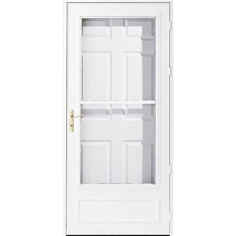 pella retractable screen door shop pella helena white mid view safety wood core