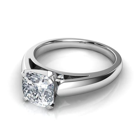 Solitaire Engagement rounded cathedral solitaire engagement ring