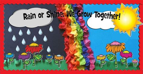 themes ideas for summer c rain or shine we grow together spring bulletin board