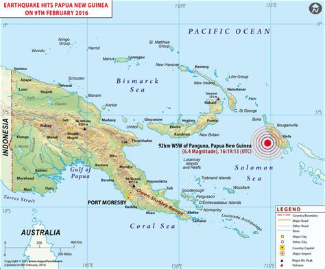 new guinea map papua new guinea earthquake map area affected by