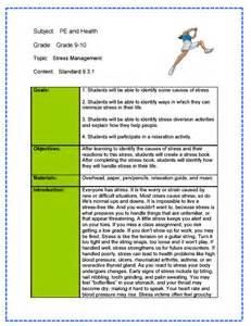 Phys Ed Lesson Plan Template by Physical Education Health Lesson Plan Sle