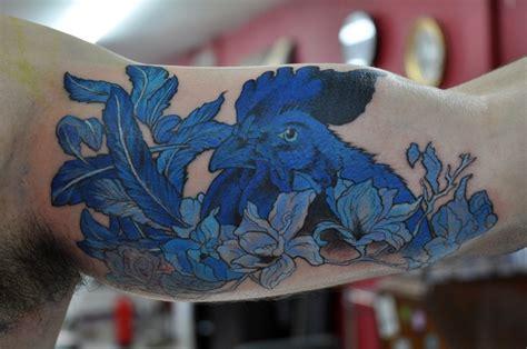 porcelain pattern tattoo blue ink tattoo rooster tattoomagz