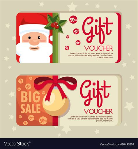 christmas gift voucher gift card royalty  vector image