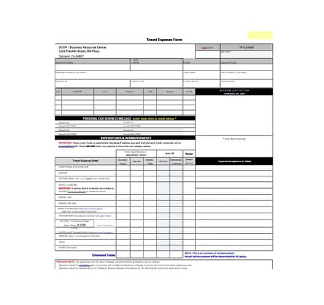46 Travel Expense Report Forms Templates Template Archive Travel Expenses Template Free