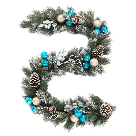 Room Decorating Tool home accents holiday 6 ft flocked pine garland with blue