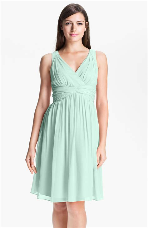 donna glass dress donna twist waist chiffon dress in green