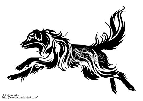 tribal dog tattoo australian shepherd tribal logotype by avestra on