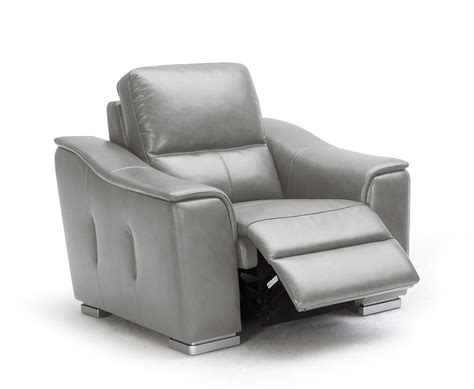 Reclining Lounge Chair 1710 Grey Reclining Leather Lounge Chair