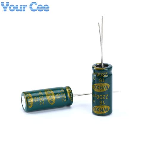capacitor high frequency 10 pcs electrolytic capacitors high frequency 16v 2200uf 10x25mm aluminum electrolytic capacitor