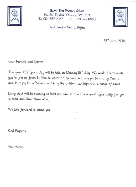 day letter ks2 sports day letter burnt tree primary school