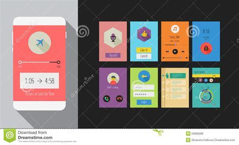 mobile application design kit flat ui or ux mobile apps kit stock vector image 53908286
