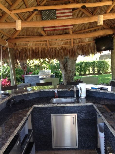 Tiki Hut Design Of Miami Inc Tiki Hut Outdoor Kitchen And Landscaping Tropical