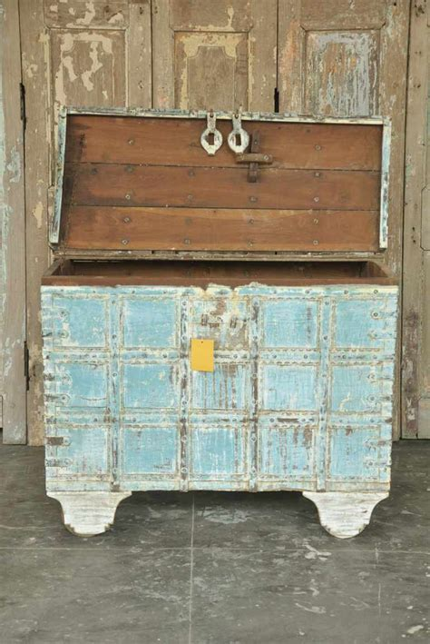 antique dowry chest on wheels with soft blue paint colours sold