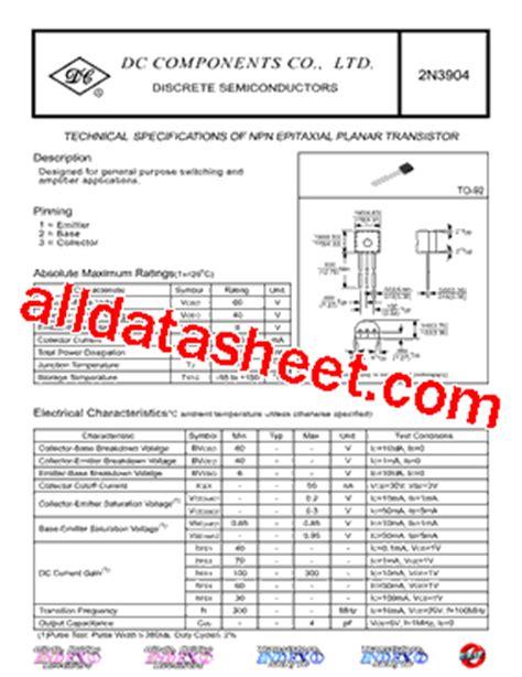 datasheet of transistor 2n3904 2n3904 datasheet pdf dc components