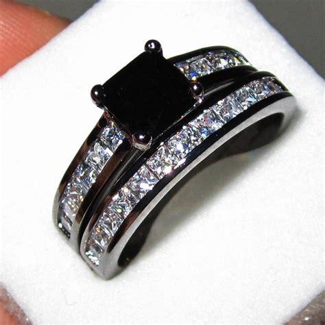 cheap black wedding rings womens 18k black gold