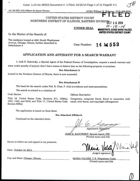 Search Warrant In Application And Affidavit For A Search Warrant