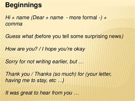an informal email or letter