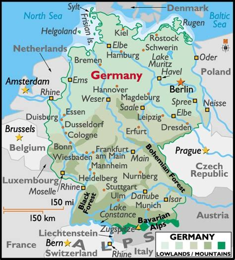 map of germany showing berlin map of germany showing cities map of germany