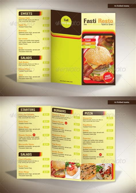 menu card template photoshop tri fold menu template free best and