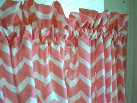 set of 2 curtain panels coral pink chevron curtains