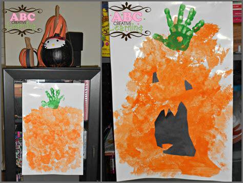 pumpkin arts and crafts easy handprint sponge pumpkin arts crafts