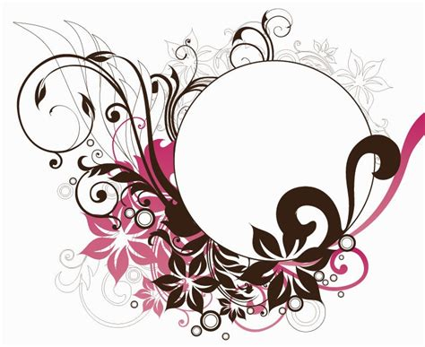 design graphic frame name circle frame with floral decorations vector graphic